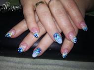 Best Nails - kék virágok