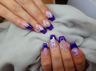 Best Nails - Lilás kék és akril virág