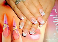 Best Nails - akril vonalak hálója fehér rózsaszínen