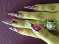 Pink kagylólap beépítve akril díszítéssel 2