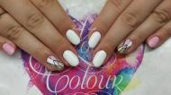 Best Nails - fehér pasztellrózsaszín és arany