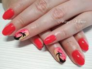 Best Nails - 3S87 neon piros pálmafás