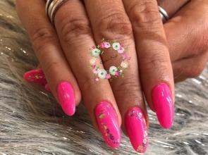 hosszú pink csillogással