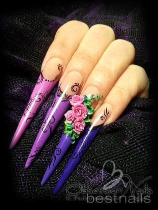 Katarzyna - Gel Nails with 3D acrylic roses - 2013-10-26 22:52