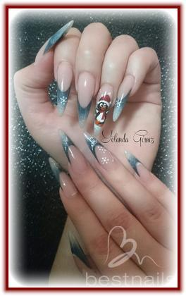 Love Nails by Yolanda Gómez - Stiletto Navidad pintura acrilica  - 2014-12-28 13:06
