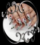Black and white and silver nail