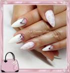 White and pink nail