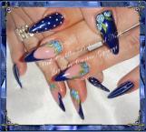 Best Nails - Blue flower nail art
