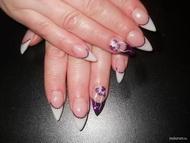Best Nails - Ildikó zselés lila flitteres akrilos
