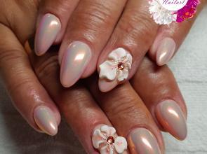 Krómos rózsaszín 3D virággal