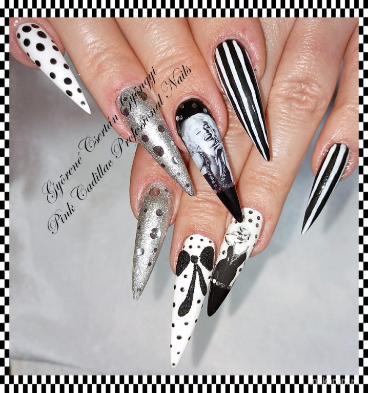 Marilyn Monroe nail art - műköröm minta, műköröm minták