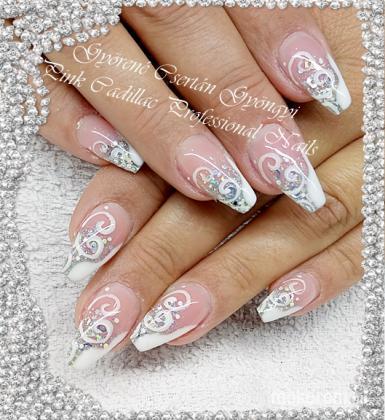 White and silver nail - Kombinált műköröm díszítés