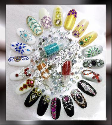 glitter nail decoration - Kombinált műköröm díszítés