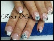 Best Nails - black and white Gel encima de porcelana
