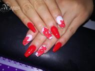 Best Nails - piros porci rózsák