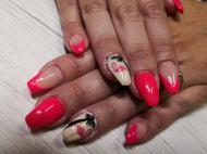 Flamingóval és pálmafával