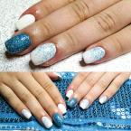 Best Nails - türkiz fehér kombó