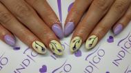 pasztell lila és vanília sárga