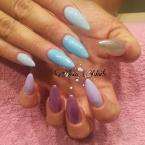 Blue purple silver nails