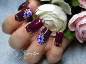 ombre nails with one stroke design