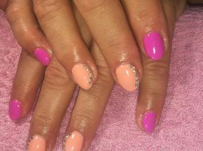Peach pink nails
